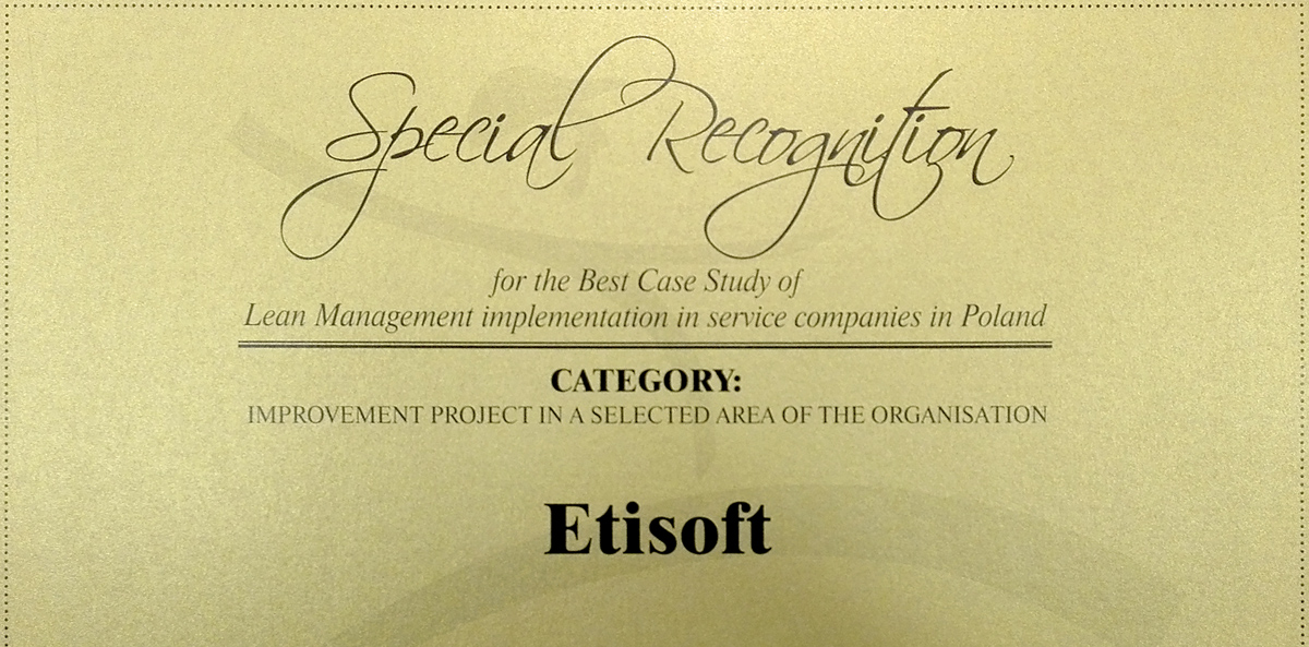 Our HR department awarded in Best Lean Management Implementation contest