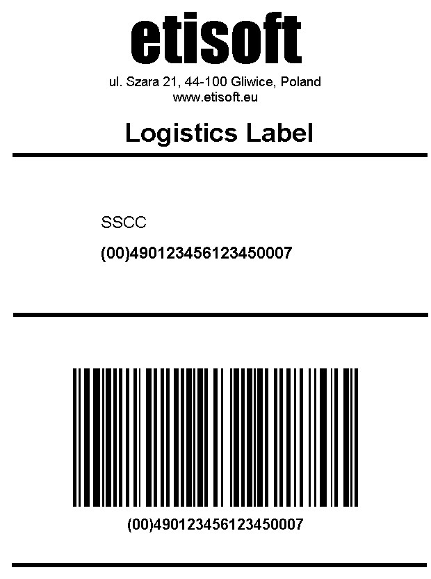 Logistics label GS1