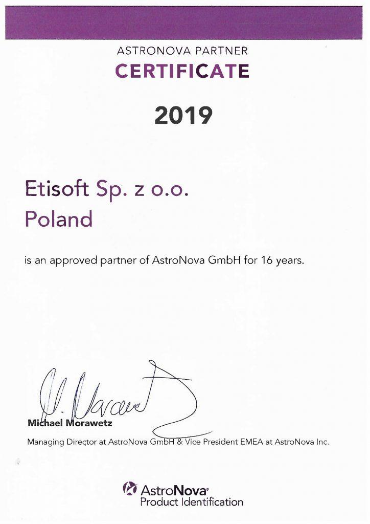 AstroNova - certificate