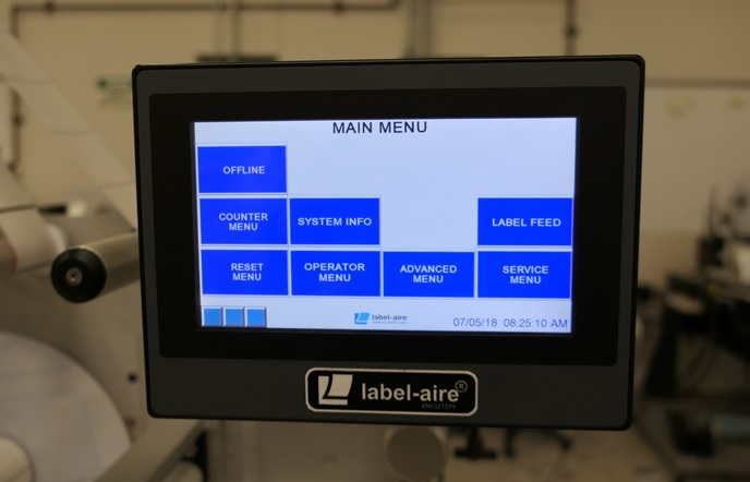 touch control panel allow for free parameterisation of actuators and label applicators