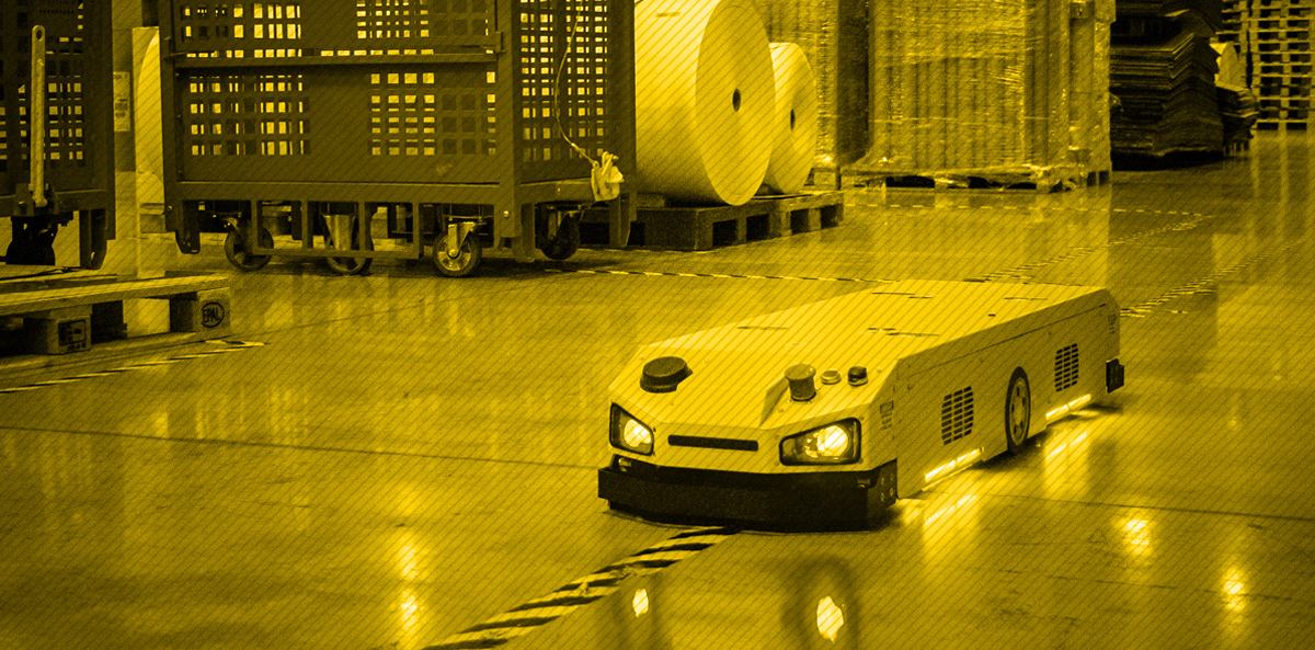 Efficient intralogistics with AGV robots (Automated Guided Vehicle)