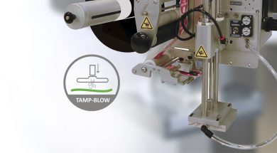 Tamp-Blow label application method